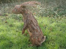 sculpture hare standing bark and wood outdoor yard sculpture