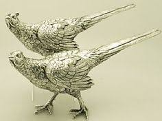 pair of silver plated pheasants table decoration by maisonmaudie