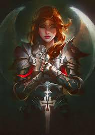 wallpaper swords armour redhead girls fantasy angels 3508x4961