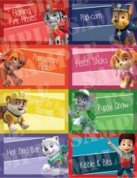 printable link food tent labels paw patrol