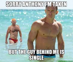 sorry anthony i m taken but the guy behind me is single swimming