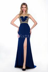 navy blue dress glamorous navy blue chiffon gold embroidered mermaid high slit
