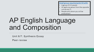 Sample Rhetorical Analysis Essay Ap English Group Essay Ap English Language And Composition Unit Synthesis