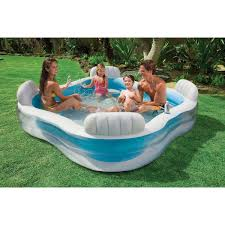 avec siege intex piscine familiale avec siège 229 x 229 x 66 cm houra fr