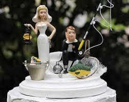 fishing cake topper wedding camping trip fishing pole bride