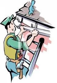 cartoon pictures of cleaning cartoon of a man hanging a rain gutter royalty free clipart picture