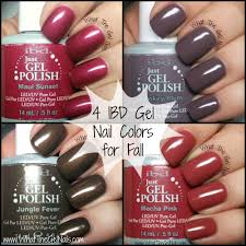 swatches of 4 awesome gel nail colors ibd maui sunset ibd smokey