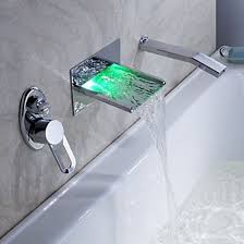 pull out bathtub faucet led waterfall wall mount tub faucet with pull out hand shower