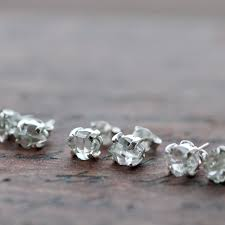 silver stud earrings herkimer silver stud earrings diamond studs justine