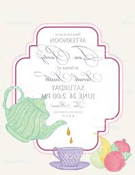 unique tea party invitation template with text frame vector file free