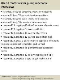 Mechanic Resume Samples by Top 8 Pump Mechanic Resume Samples