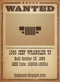 early yj build manufacture dates by production number jeep