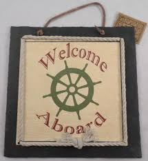 welcome aboard captain u0027s wheel nautical home decor sign wall