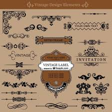 vintage swirls decorations set vector free