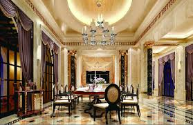 dining room luxury villa dining room ceiling lights and curtai