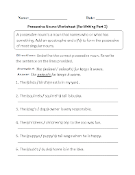 worksheets on possessive nouns free worksheets library download