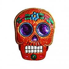 tin sugar skull ornament mexican wall plaque decoration casa frida