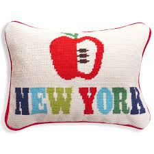new york apple needlepoint throw pillow modern holding category