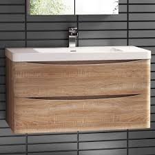 Wall Mounted Vanities For Small Bathrooms by 900 X 550mm Wall Mount Modern Oak Bathroom Vanity Unit Stone