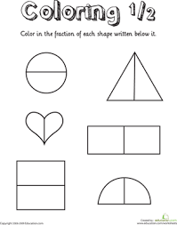 coloring shapes the fraction 1 2 printable maths worksheets
