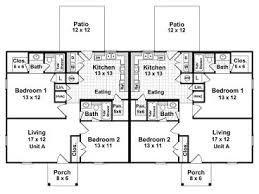 1 Bedroom 1 1 2 Bath House Plans Duplex Home Plans One Story Multi Family House Plan 001m 0002