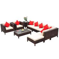 outsunny 9 piece outdoor pe rattan wicker sectional patio sofa chair