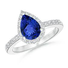 tanzanite engagement ring pear shaped tanzanite engagement ring with halo angara