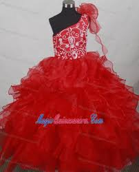 one shoulder kid pageant dresses with ruffled layers and