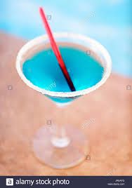blue margarita a blue margarita by a pool old san juan puerto rico stock photo