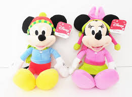 le creuset beauty and the beast soft and cuddly mickey and minnie plush toy pair