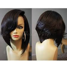 black hair swoop bang trebella closure bob unit w deep side part typically the swoop bang