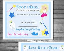 tooth fairy chart tooth fairy certificate tooth fairy