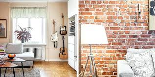 design of apartment brick wall interior design apartment in style with red white room