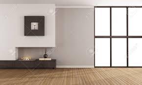 minimalist fireplace empty room with minimalist fireplace and window stock photo