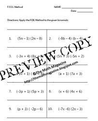 foil method multiplying binomials worksheet with key a sse 3b a