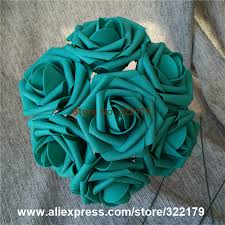 turquoise flowers teal flowers artificial 100pcs turquoise green roses for wedding