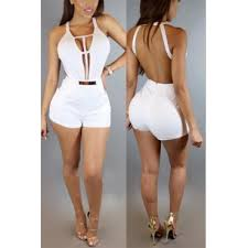 one jumpsuits v neck sleeveless backless white healthy fabric one