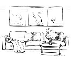 Living Room Clipart Black And White Modern Interior Room Sketch Hand Drawn Sofa Stock Vector Art