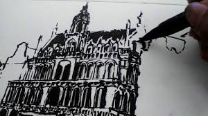 sketch with brush and ink belgium brussels grand place youtube