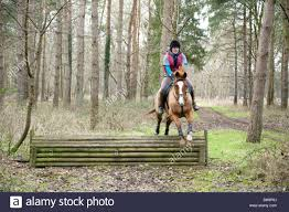 a teenage and her horse jump a fence elveden estate