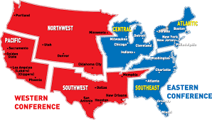 map usa nba difference between eastern and western nba conference