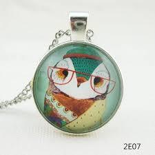 glass necklace pendant images Vintage colorful owl necklace pendants glass cabochon necklace jpg