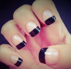 great black tips with natural paint black acrylic nail art picsmine