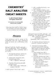 chemistry salt analysis cheat sheets salt chemistry solubility