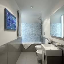 Narrow Bathroom Design Narrow Bathroom Layout With Rectangular Wall Mirror And