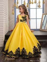 girls christmas dresses for party 2017 yellow satin birthday party