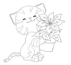cat small plant coloring animal pages