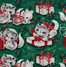 cat christmas wrapping paper vintage christmas kitten gift wrap 1950s christmas kitten