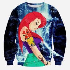 newest autumn new 3d sweatshirt the little mermaid ariel cartoon