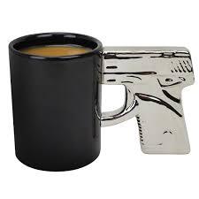 handgun mug chrome ceramic coffee mug novelty pistol mugs